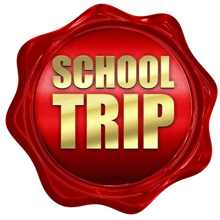 isolation tank: school trip, 3D rendering, a red wax seal Stock Photo
