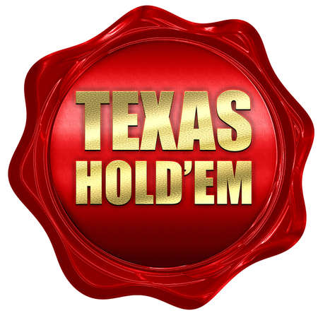 holdem: texas holdem, 3D rendering, a red wax seal