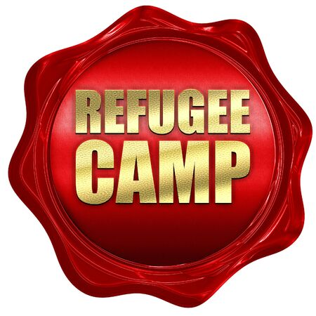 syrian civil war: refugee camp, 3D rendering, a red wax seal