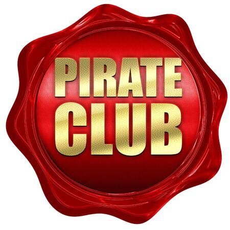 secret place: pirate club, 3D rendering, a red wax seal Stock Photo