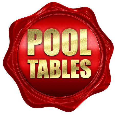 pool tables: pool tables, 3D rendering, a red wax seal