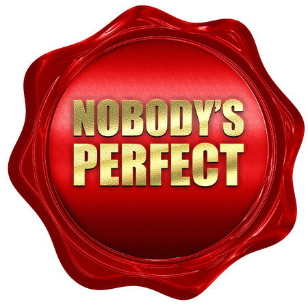 perfectionist: nobodys perfect, 3D rendering, a red wax seal
