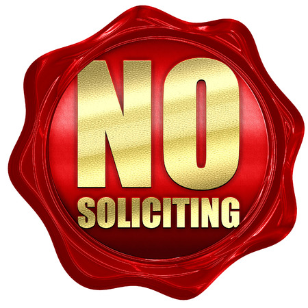 wax sell: no solliciting, 3D rendering, a red wax seal