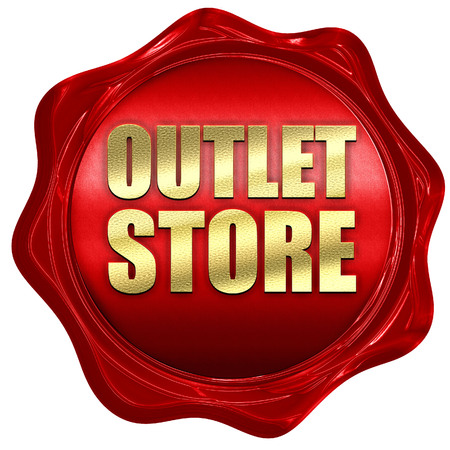 outlet store: outlet store, 3D rendering, a red wax seal Stock Photo