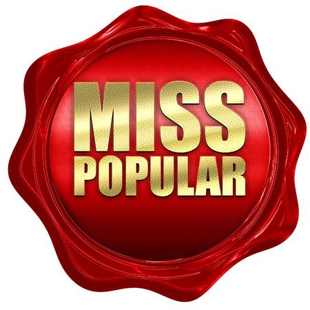 most talent: miss popular, 3D rendering, a red wax seal