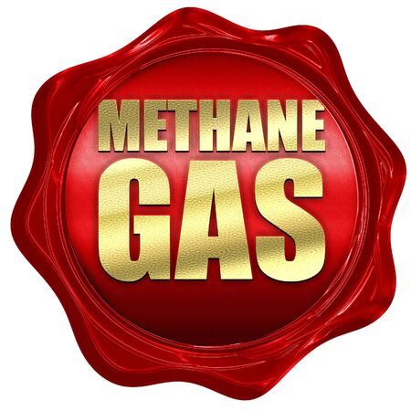 methane: methane gas, 3D rendering, a red wax seal