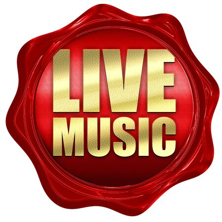 music 3d: live music, 3D rendering, a red wax seal Stock Photo