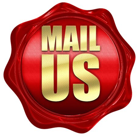 mail us: mail us, 3D rendering, a red wax seal