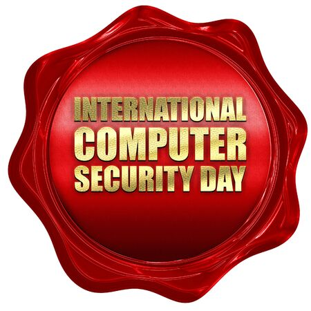 international security: international computer security day, 3D rendering, a red wax seal