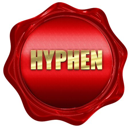 red wax: hyphen, 3D rendering, a red wax seal