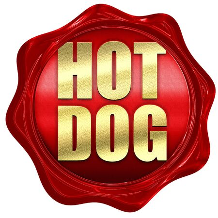 red wax: hotdog, 3D rendering, a red wax seal Stock Photo