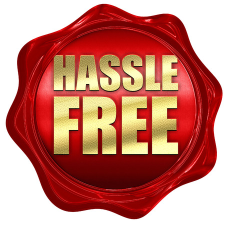 hassle: hassle free, 3D rendering, a red wax seal