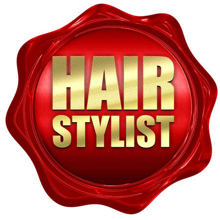 hair stylist: hair stylist, 3D rendering, a red wax seal Stock Photo