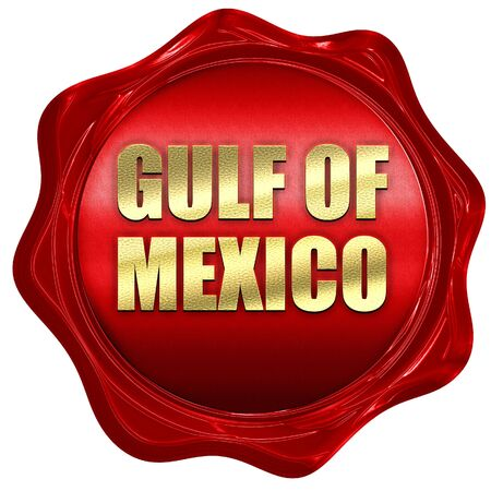 gulf of mexico: gulf of mexico, 3D rendering, a red wax seal