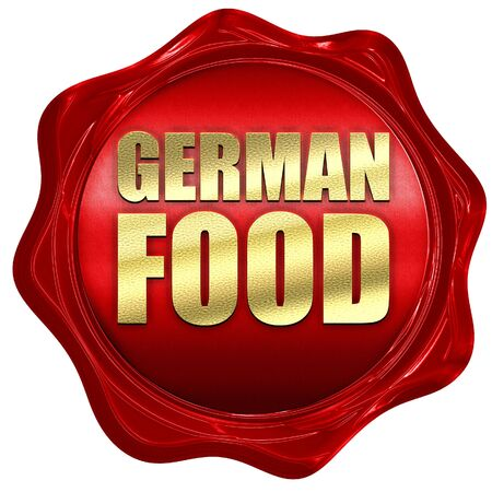 german food: german food, 3D rendering, a red wax seal