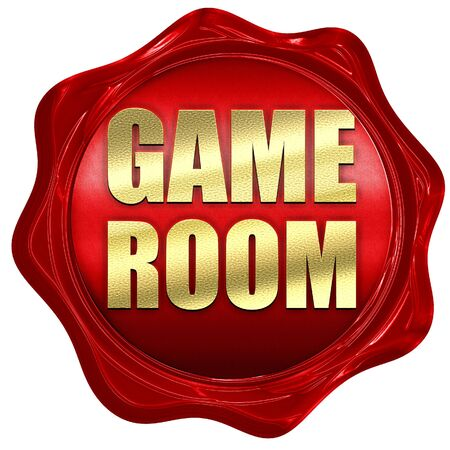 pool rooms: game room, 3D rendering, a red wax seal