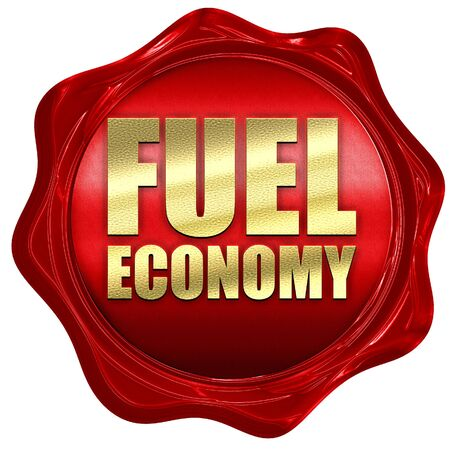 fuel economy: fuel economy, 3D rendering, a red wax seal