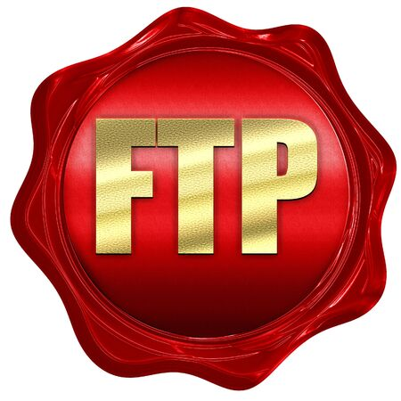 ftp: ftp, 3D rendering, a red wax seal