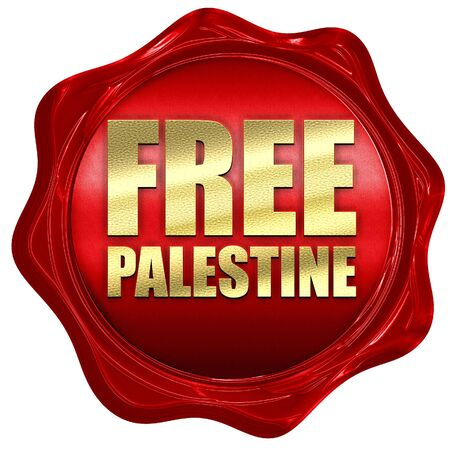 israel war: free palestine, 3D rendering, a red wax seal Stock Photo