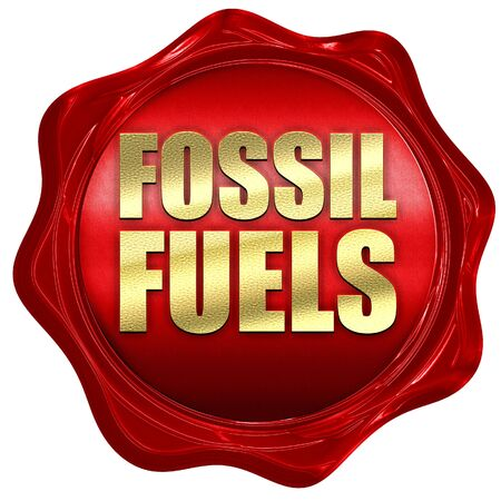 fossil fuels: fossil fuels, 3D rendering, a red wax seal