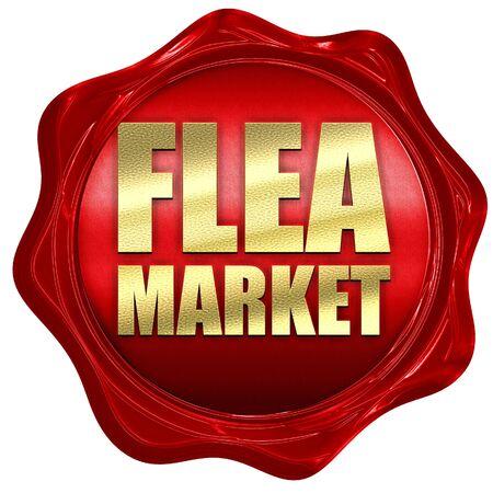 wax sell: flea market, 3D rendering, a red wax seal