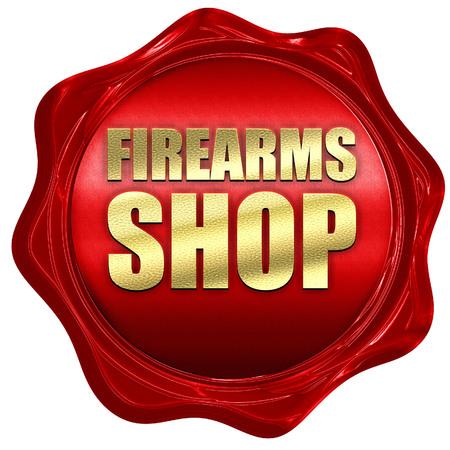firearms: firearms shop, 3D rendering, a red wax seal
