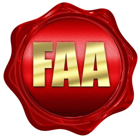 faa: faa, 3D rendering, a red wax seal