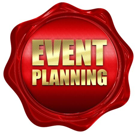event planning: event  planning, 3D rendering, a red wax seal
