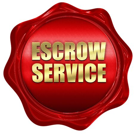 escrow: escrow service, 3D rendering, a red wax seal
