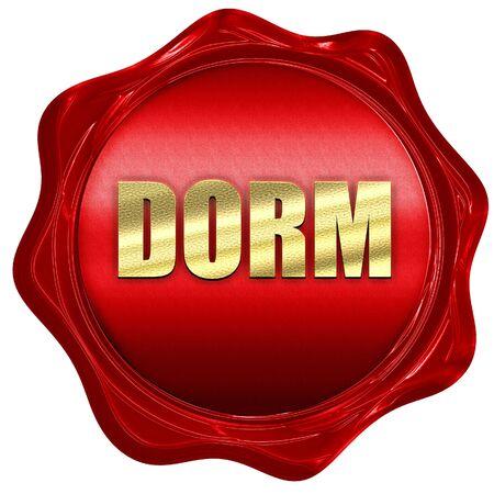 dorm: dorm, 3D rendering, a red wax seal