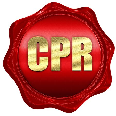 3d doll: cpr, 3D rendering, a red wax seal Stock Photo