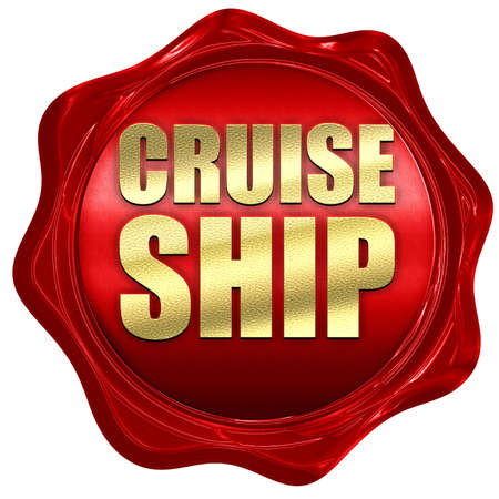cruiseship: cruiseship, 3D rendering, a red wax seal Stock Photo
