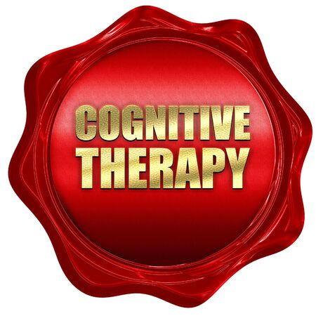 cognitive: cognitive therapy, 3D rendering, a red wax seal