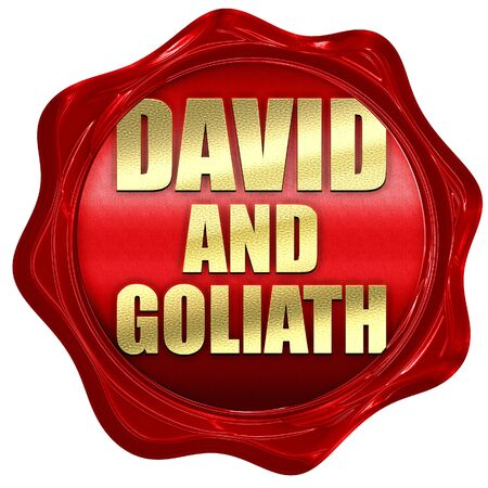 david and goliath: david and goliath, 3D rendering, a red wax seal Stock Photo