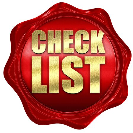 red wax: checklist, 3D rendering, a red wax seal Stock Photo