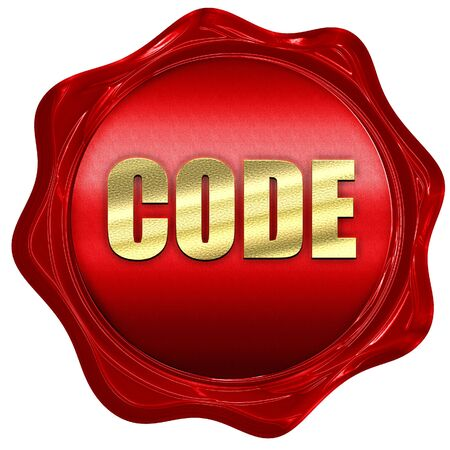 java script: code, 3D rendering, a red wax seal Stock Photo