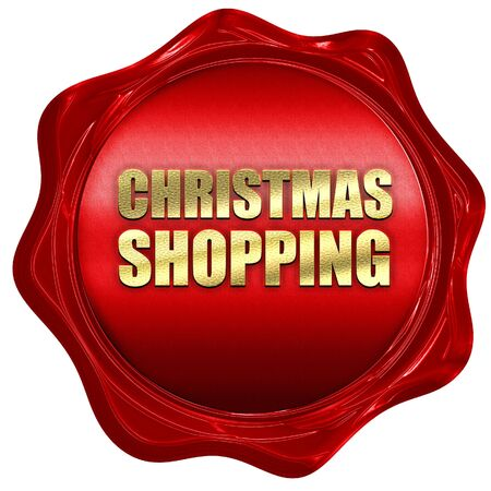 retailing: christmas shopping, 3D rendering, a red wax seal