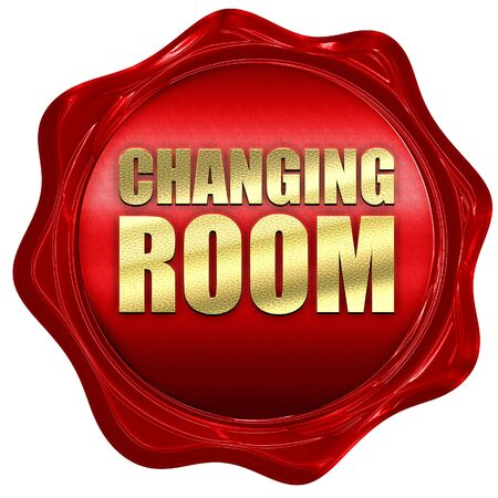 changing room: changing room, 3D rendering, a red wax seal