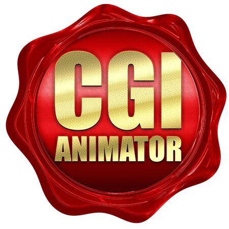cgi: cgi animator, 3D rendering, a red wax seal Stock Photo
