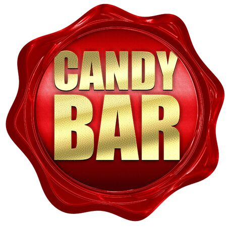 wax sell: candy bar, 3D rendering, a red wax seal Stock Photo