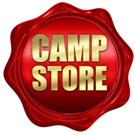 wax sell: camp store, 3D rendering, a red wax seal Stock Photo