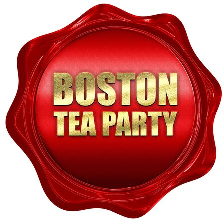 boston tea party: boston tea party, 3D rendering, a red wax seal