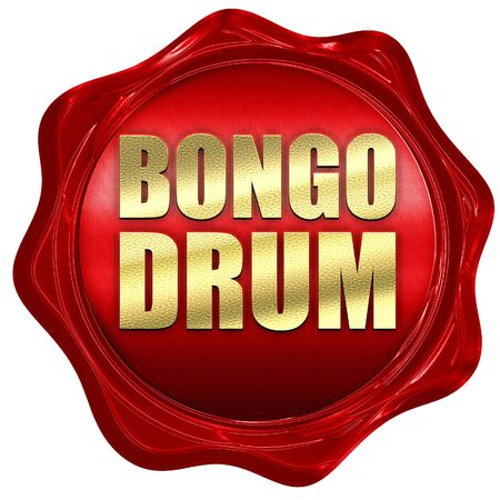 bongo drum: bongo drum, 3D rendering, a red wax seal