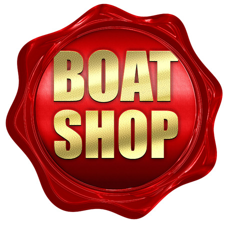 3d boat: boat shop, 3D rendering, a red wax seal