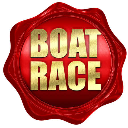 3d boat: boat race, 3D rendering, a red wax seal