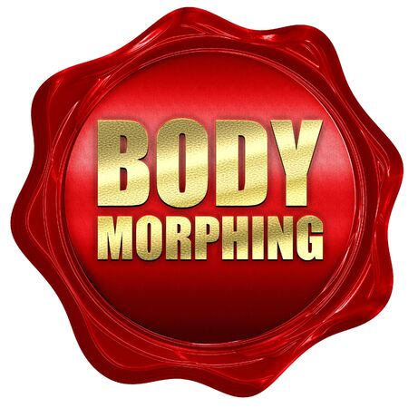 morphing: body morphing, 3D rendering, a red wax seal Stock Photo