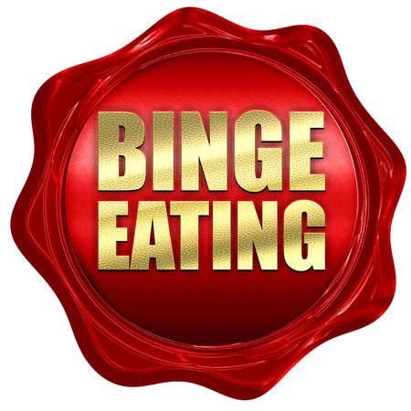 binge: binge eating, 3D rendering, a red wax seal Stock Photo