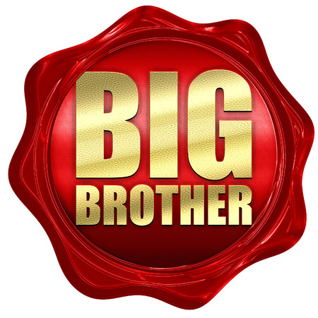 big brother spy: big brother, 3D rendering, a red wax seal Stock Photo