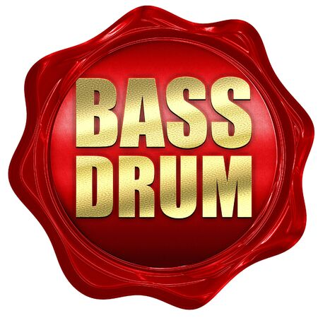 bass drum: bass drum, 3D rendering, a red wax seal