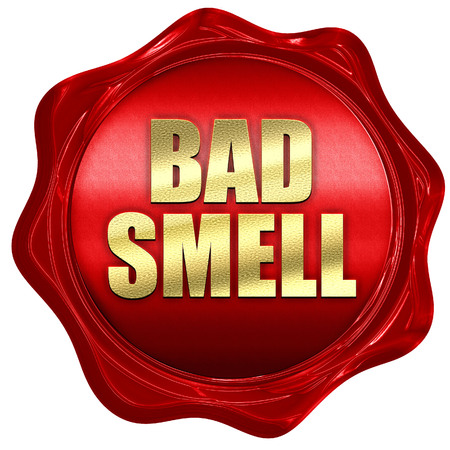 bad smell: bad smell, 3D rendering, a red wax seal